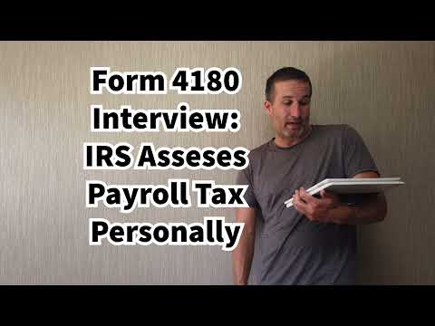 IRS Form 4180 Interview - Trust Fund Recovery Penalty Interview Explanation