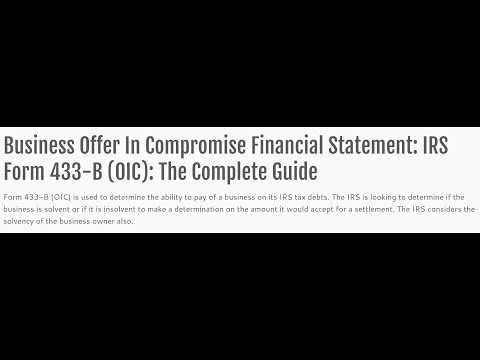 433-B (OIC) Instructions How To Complete By Expert Tax Attorney