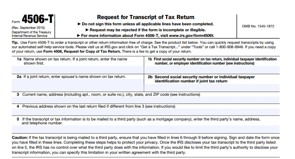 irs 4506 t form