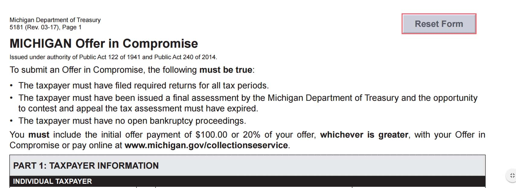 Michigan Offer In Compromise - How To Settle MI Tax Debt