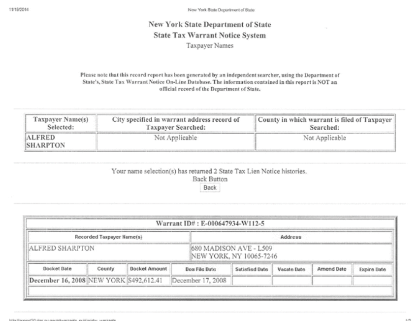 NYS tax collections warrant