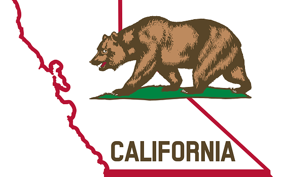 Map of California with Grizzly Bear