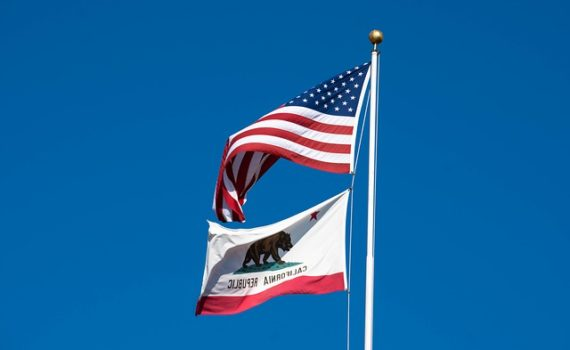 California State & United States Flags
