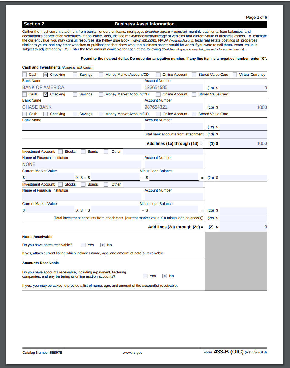 second page of IRS Form 433-B (OIC)