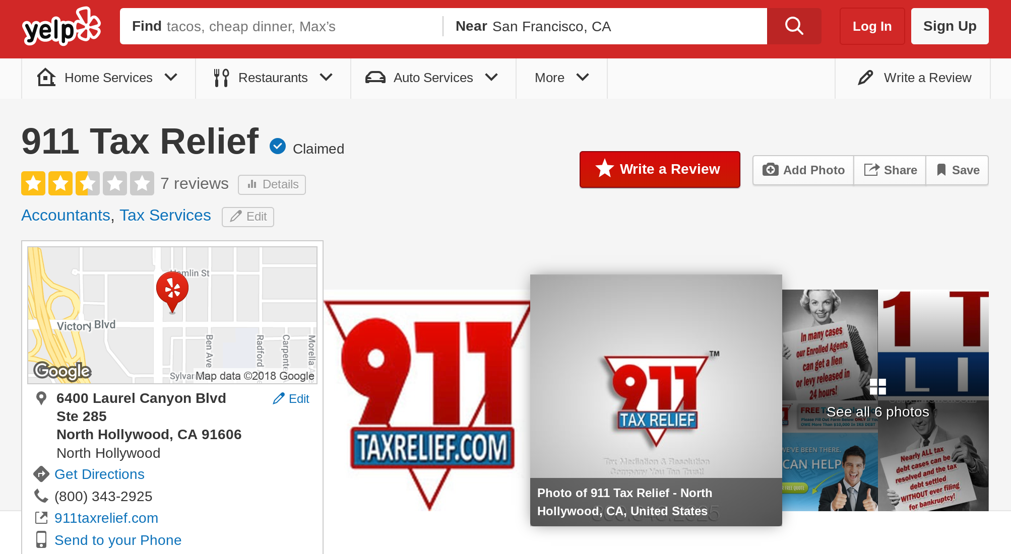911 tax relief yelp page