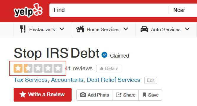 stop irs debt yelp rating